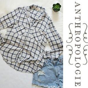 Cloth & Stone Anthropologie Navy & Grey Plaid Top